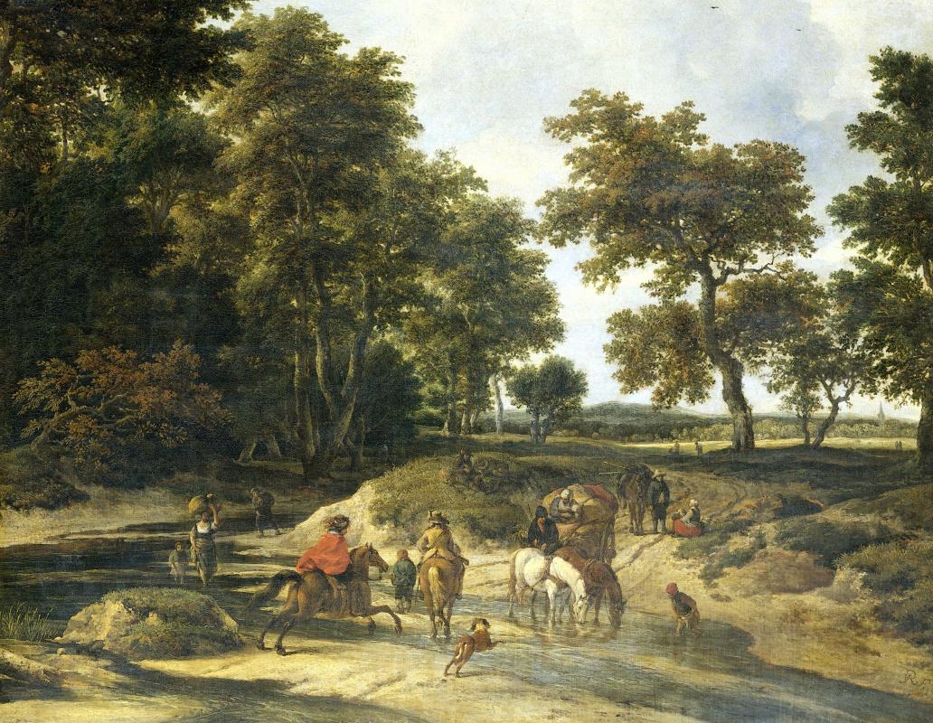 Jakob van Isaacs Ruisdael. Scene at the crossing