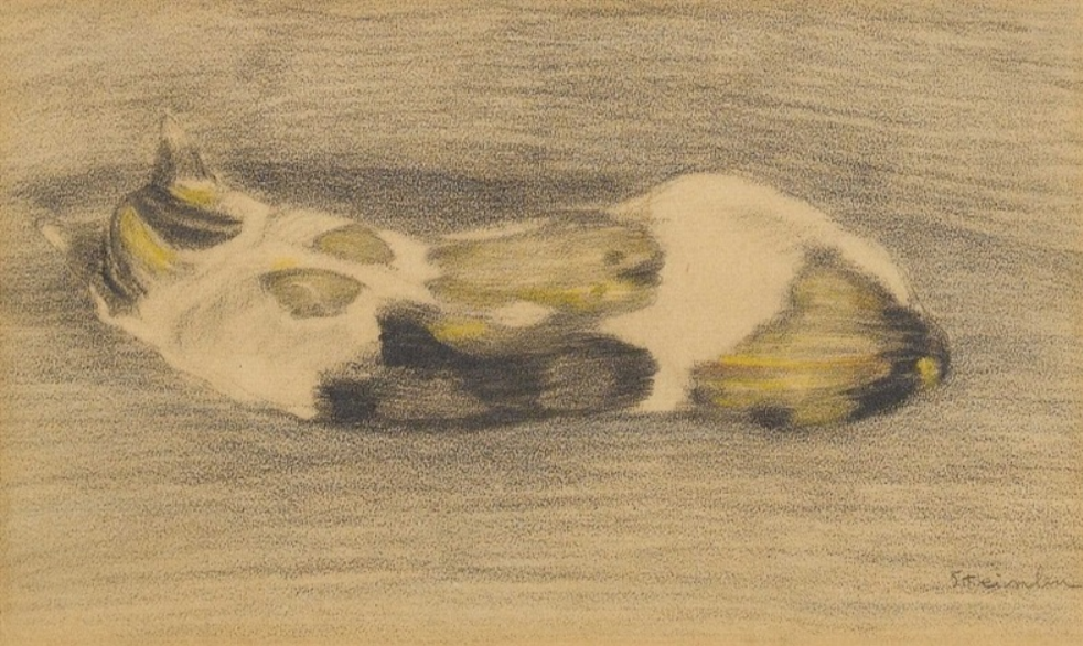 Theophile-Alexander Steinlen. A cat lying with his back to the viewer