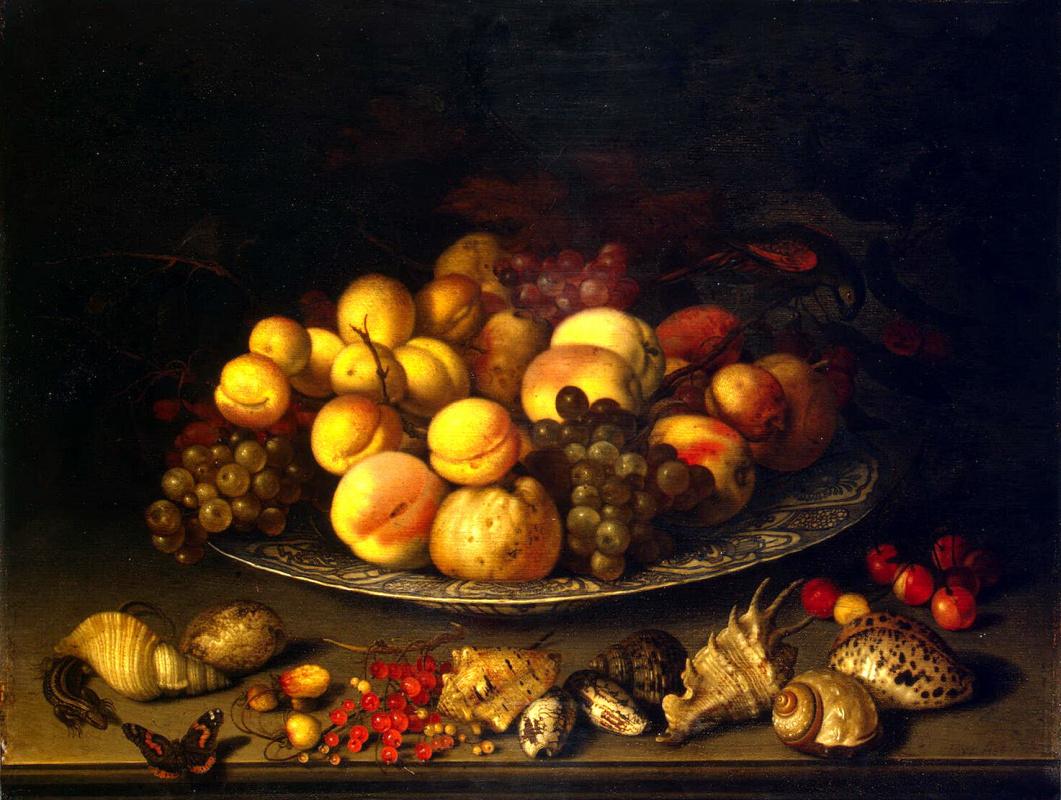 Балтазар ван дер Аст. Тарелка с плодами и раковины
