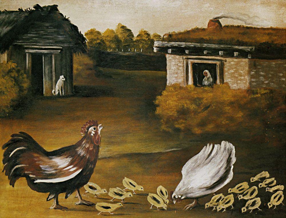 Нико Пиросмани (Пиросманашвили). Наседка с цыплятами