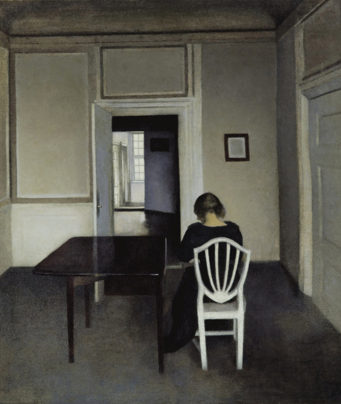 Vilhelm Hammershøi. Interior with Ida on a white chair
