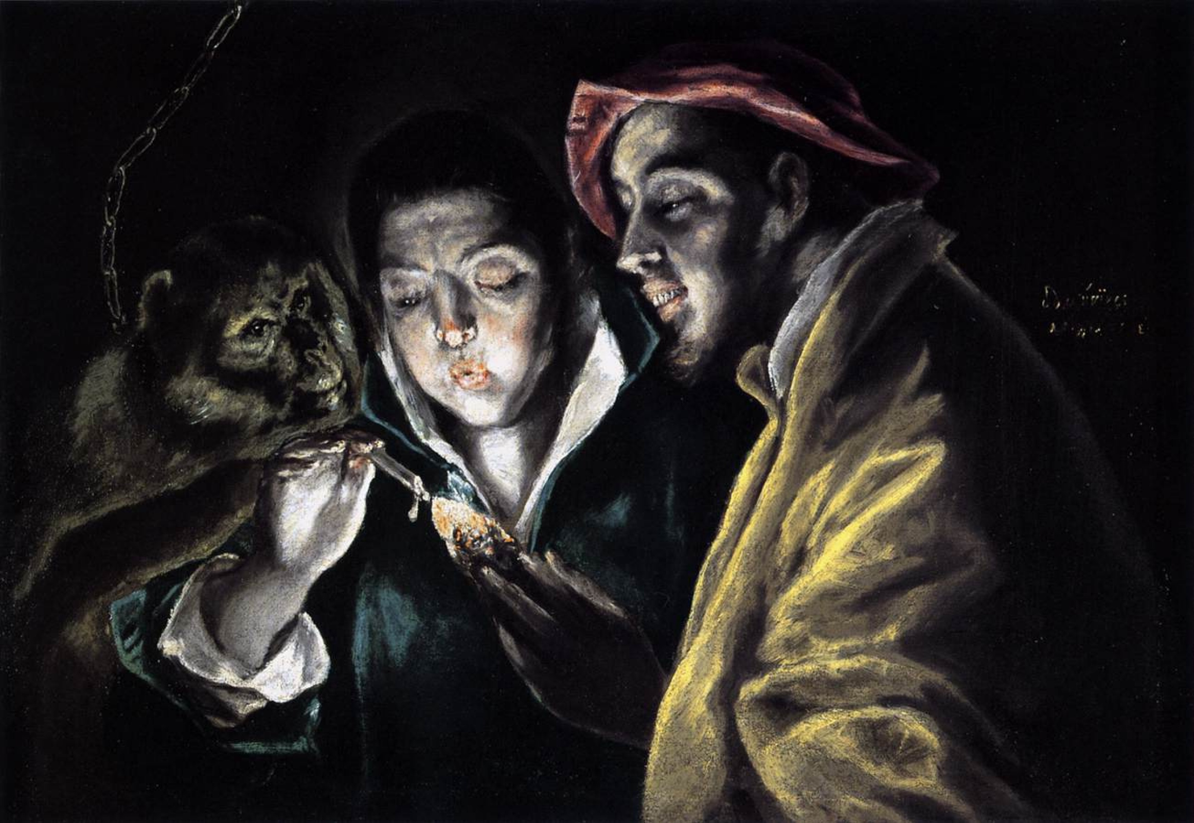 A Boy Lighting Candle In Company Of Monkey And Fool By