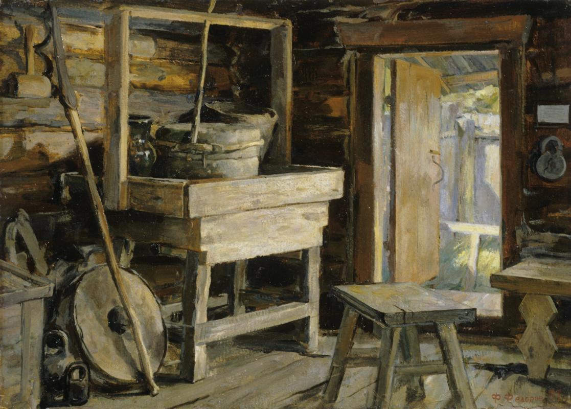 Фёдор Борисович Фёдоров. Peasant interior of the 19th century