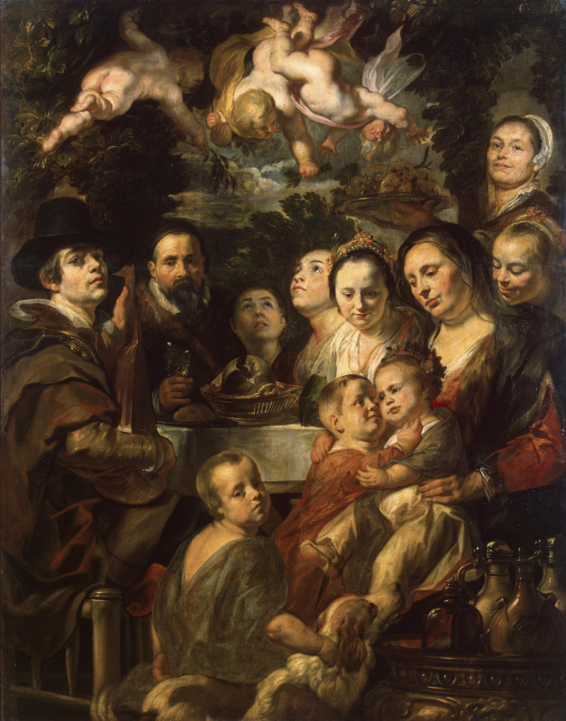 Self-portrait with parents, brothers and sisters