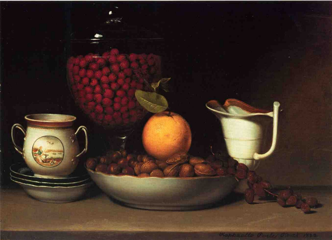 Raphaelle Peale. Still life with strawberries and nuts