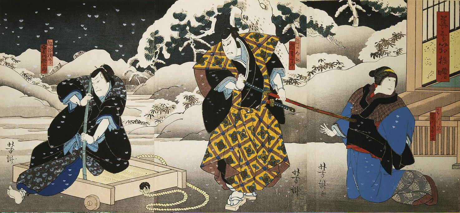 Итиётэй Ёситаки. Триптих Актеры Фудзикава Томокити III, Араси Китисабуро III и Дзицукава Энсабуро