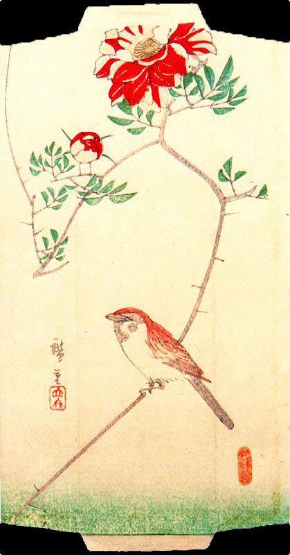 "Utagawa Hiroshige. Sparrow and rose. Series ""Birds and flowers"""