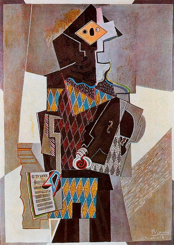 Pablo Picasso. Harlequin with violin