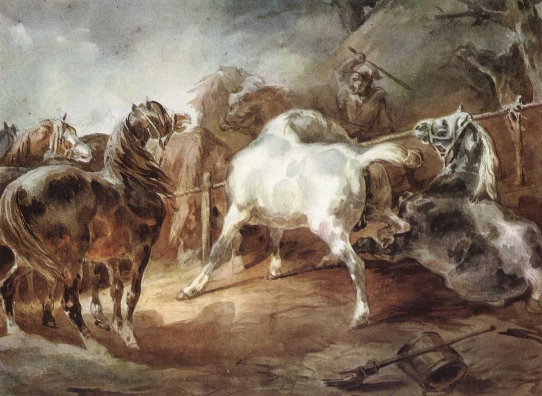 Теодор Жерико. Дерущиеся лошади