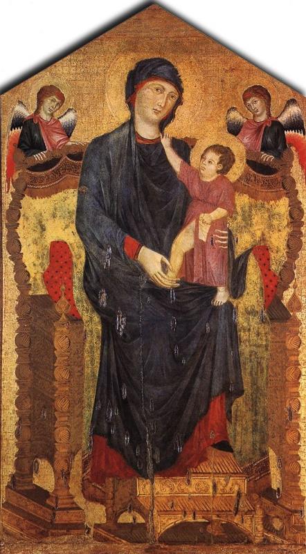 Ченни ди Пепо Чимабуэ. Мадонна на троне с Младенцем и двумя ангелами