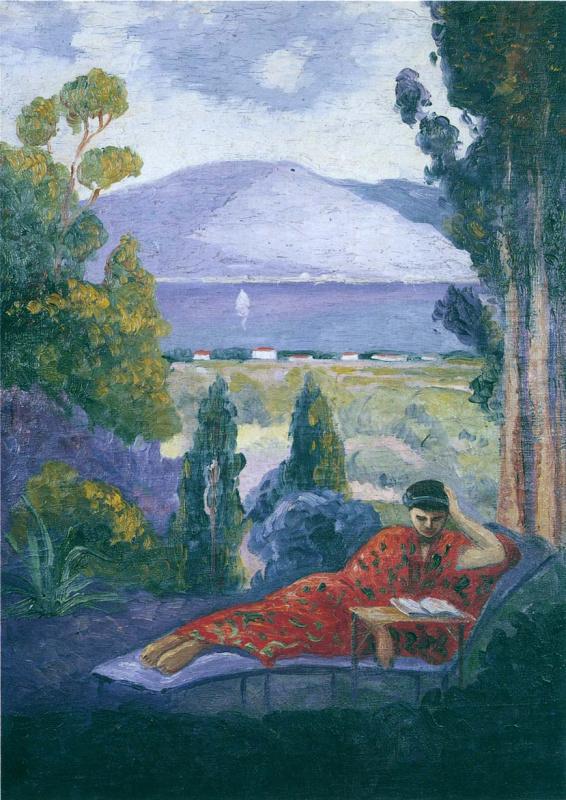 Henri Lebasque. Woman in a Mediterranean landscape