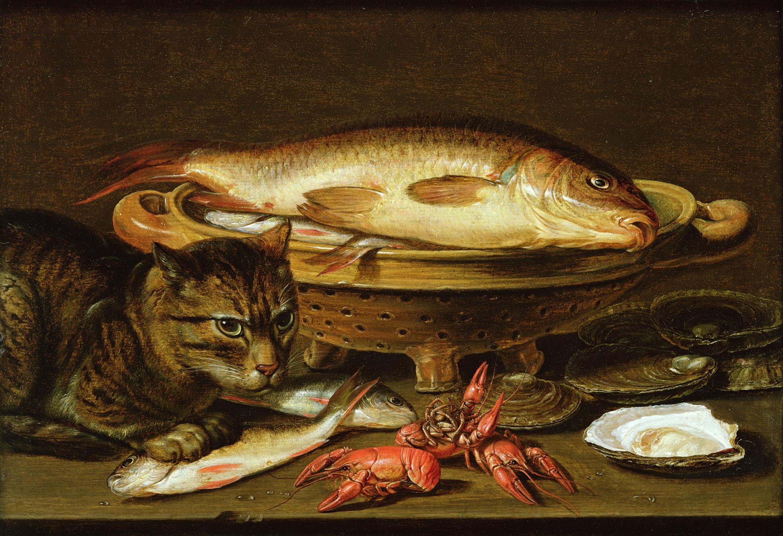Клара Петерс. Натюрморт с рыбой и котом