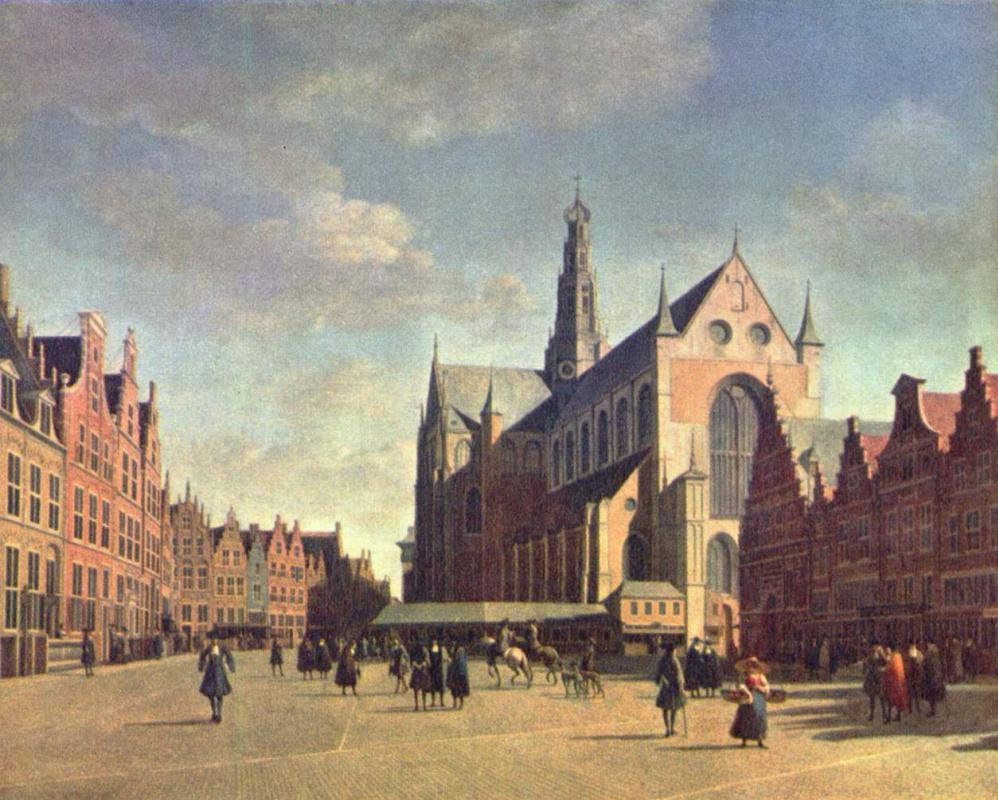 Геррит Адрианс Беркхейде. Большой рынок в Харлеме с церковью св. Бавона