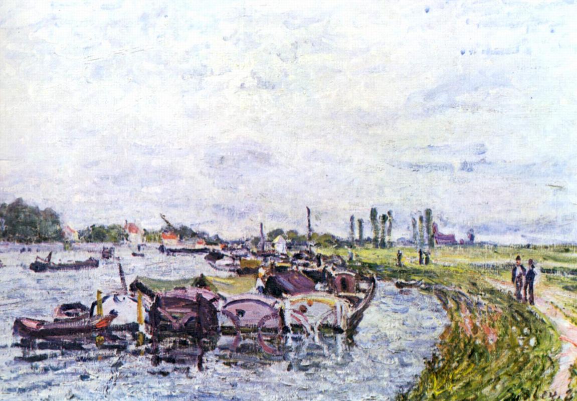 Alfred Sisley. Barges near Saint-Mammes