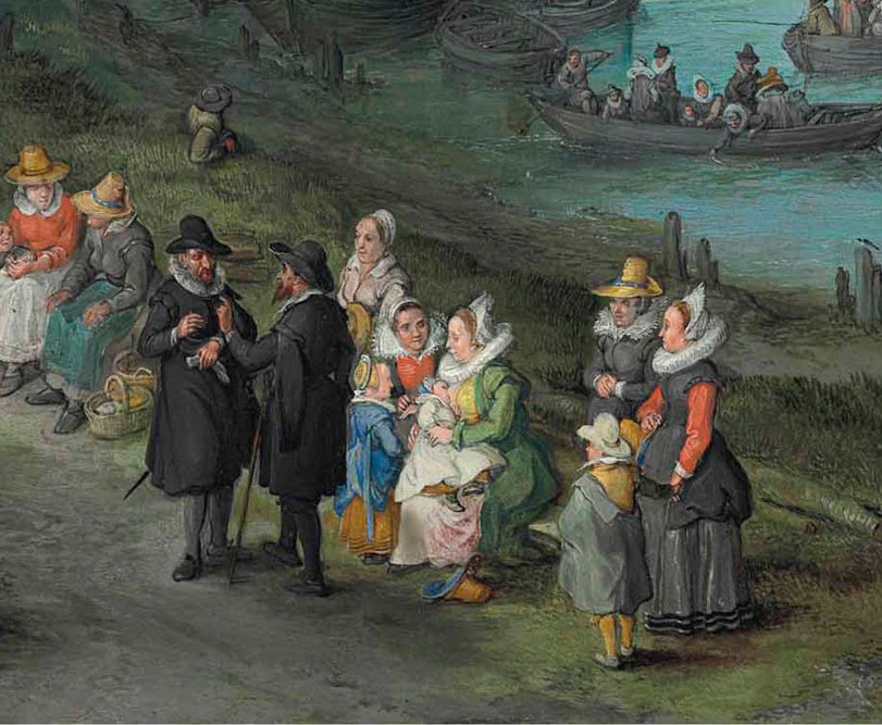 Jan Bruegel The Elder. Dancing figures on the banks of the river fragment. Portrait of the artist with his family