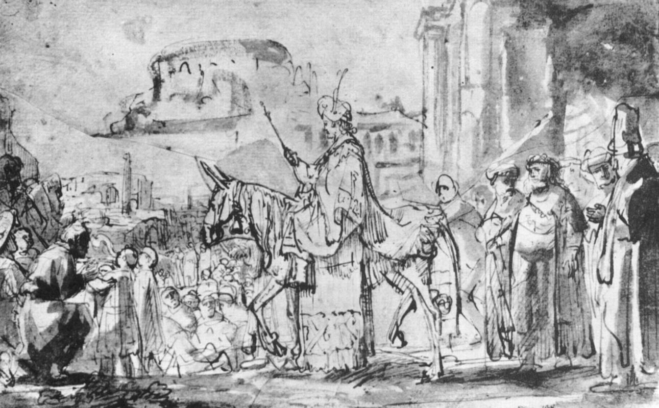 Рембрандт Харменс ван Рейн. Выезд молодого Соломона
