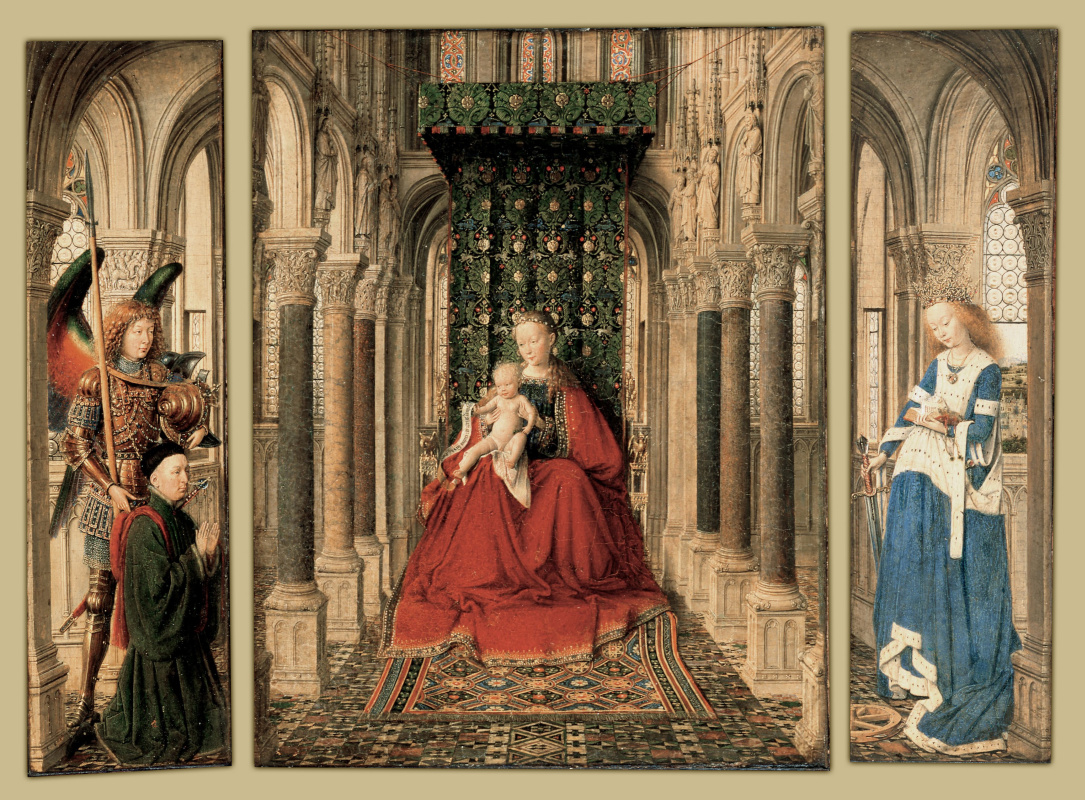 Jan van Eyck. The Dresden triptych. The virgin and child with saints George and Catherine