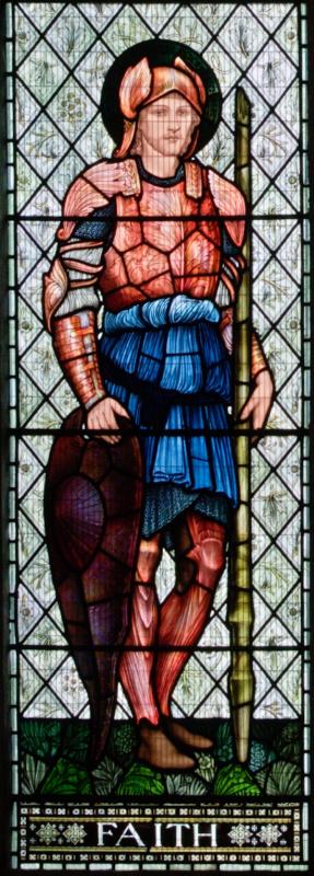 """Уильям Моррис. """"Окно Люси"""", витражное окно церкви аббатства Малмсбери. Фрагмент. Вера"""