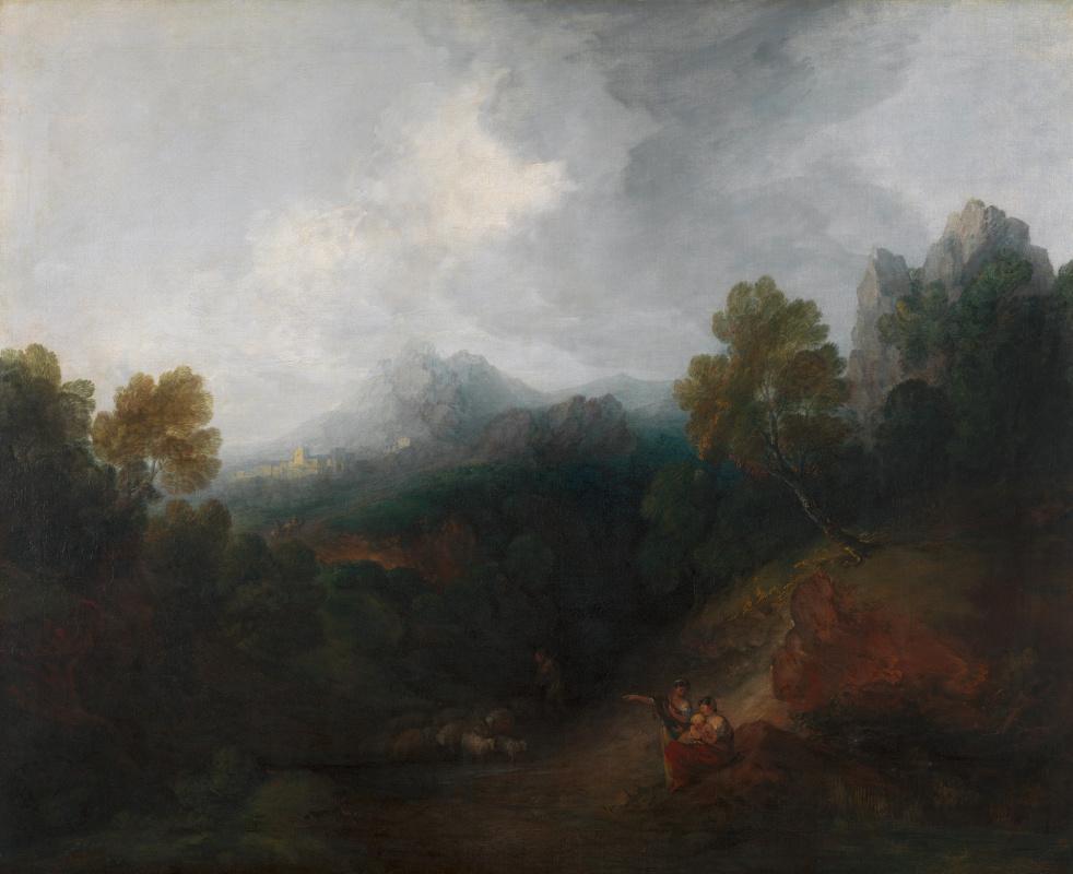 Томас Гейнсборо. Пейзаж с горной долиной и деревней вдали