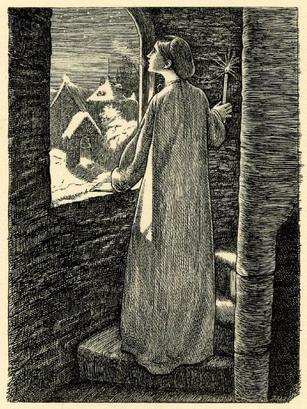 Джон Эверетт Милле. Канун дня Святой Агнессы. Иллюстрация к поэзии Теннисона