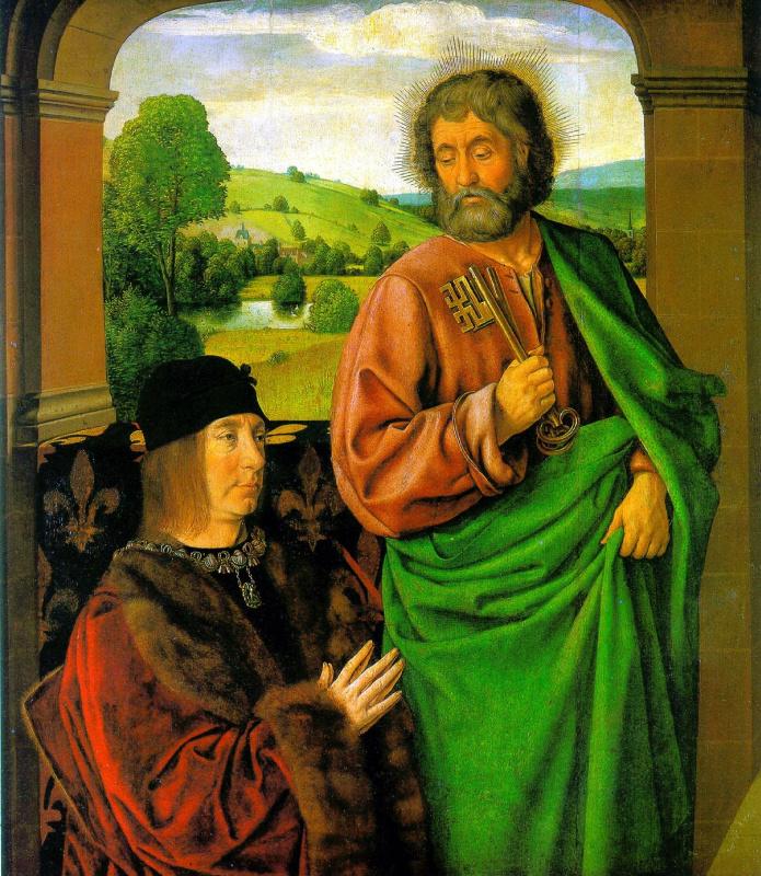 Жан Хэй. Пьер II, герцог Бурбонский со святым апостолом Петром