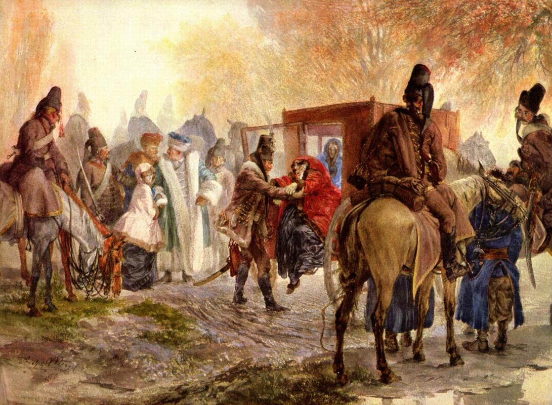 Adolf Friedrich Erdmann von Menzel. The hussars hold a Polish family