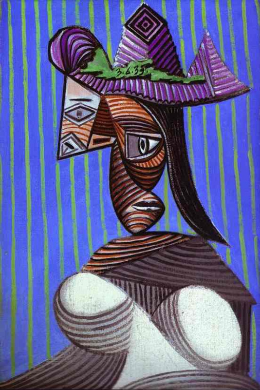 Pablo Picasso. A woman in a torn hat