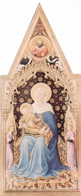 Джентиле да Фабриано. Полиптих Кварантези, центральная часть, сцена: Мадонна с ангелом