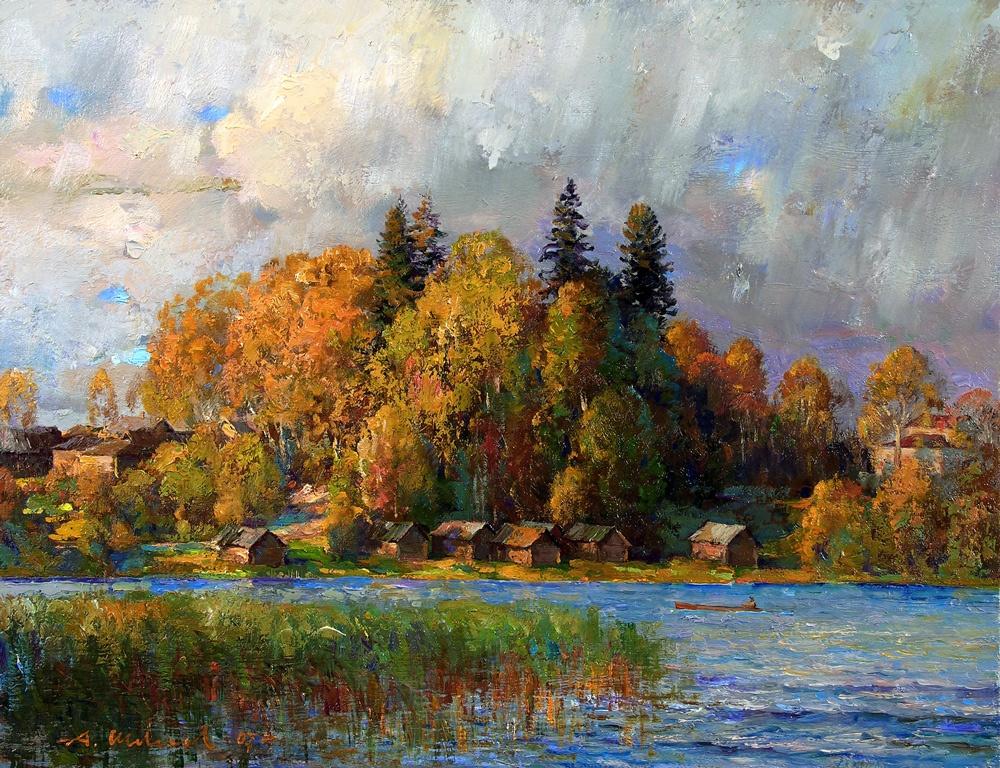 Alexander Victorovich Shevelyov. Kamenskoe lake. Oil on canvas 33 x 50 cm 2007