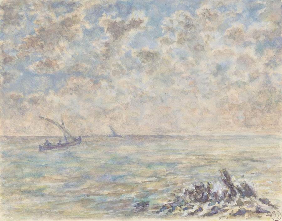 Михаил Федорович Ларионов. Морской пейзаж с лодкой