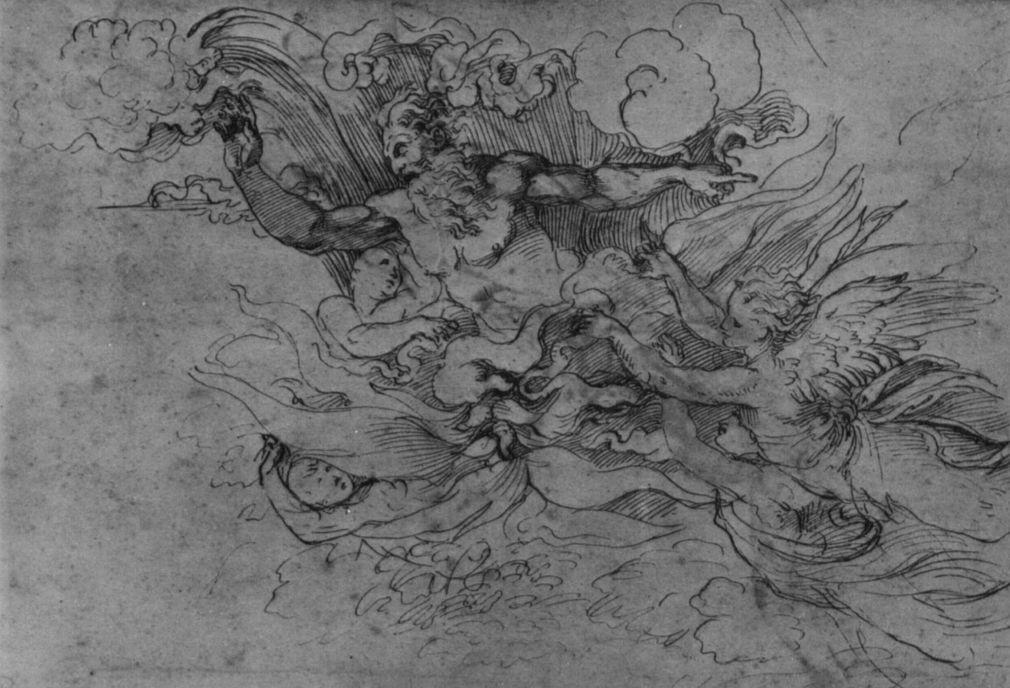 Рафаэль Санти. Бог-Отец в языках пламени и ангелы. Этюд к композиции: Бог является Моисею в Неопалимой купине