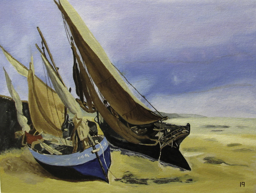 Artashes Vladimirovich Badalyan. Courbet. Fishing boats on the shore in Deauville - x-hardboard - 30x40