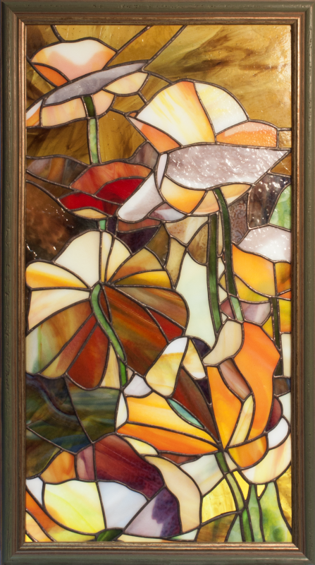"Andrey Andreevich Dzyuba. Stained glass panel ""Abstract flowers."""