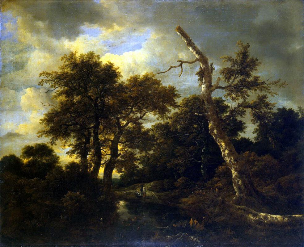 Jakob van Isaacs Ruisdael. River in the forest