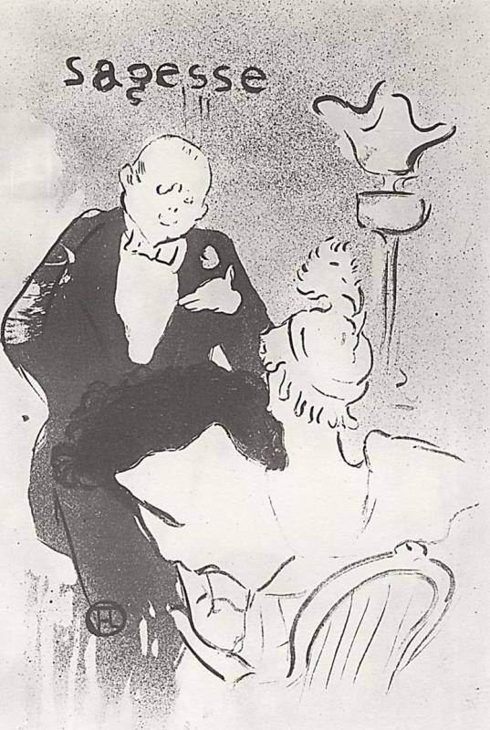 "Henri de Toulouse-Lautrec. Illustration of the poems Jean Hudeckova ""Old history."" Respect"