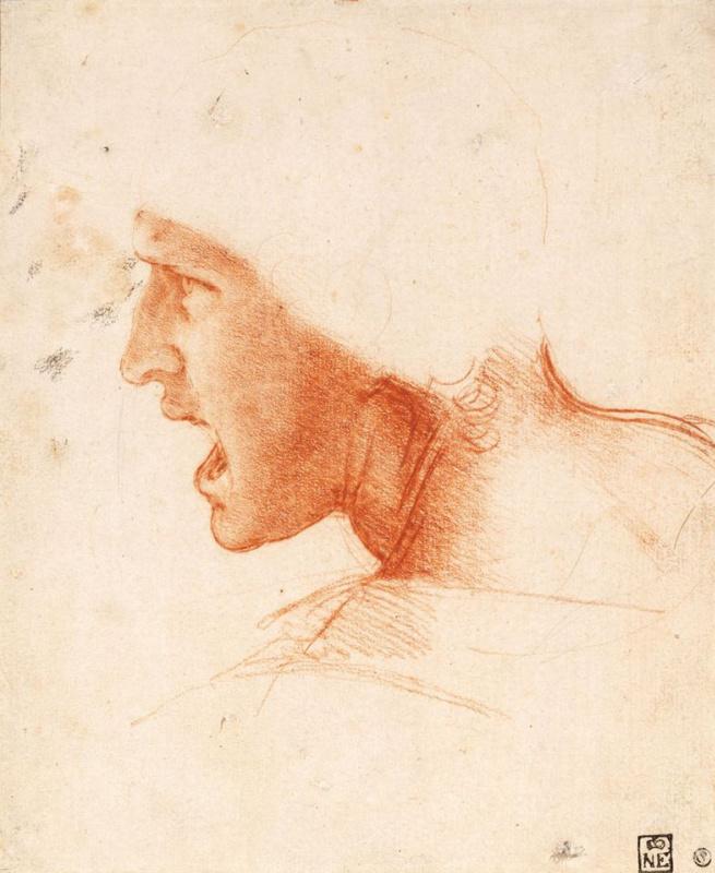 """Леонардо да Винчи. Голова воина (набросок к """"Битве при Ангиари"""")"""