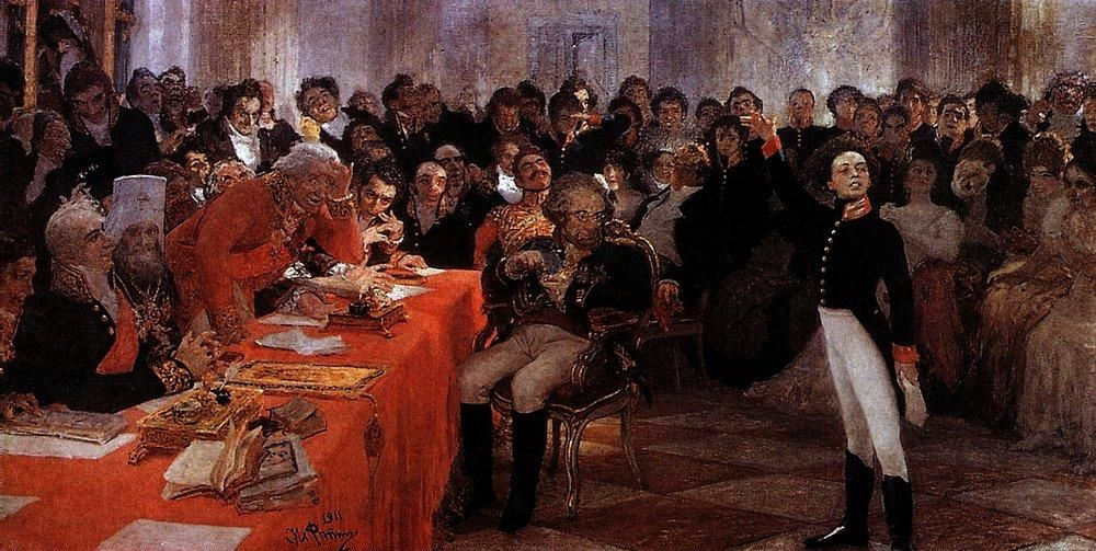 """Ilya Efimovich Repin. A. S. Pushkin on the act in the Lyceum Jan 8 1815 reads his poem """"Recollections in Tsarskoye Selo"""""""