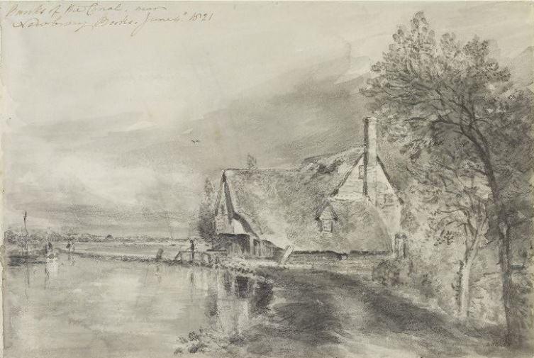 John Constable. The embankment of the canal near Newbury, Berks
