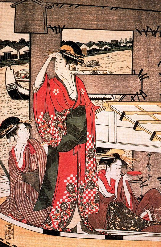 Китагава Утамаро. Свежий ветер под мостом Риогоку