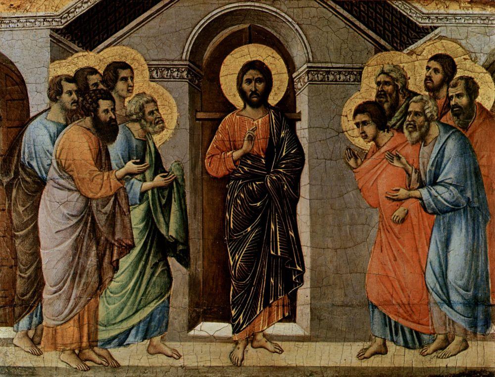 Дуччо ди Буонинсенья. Маэста, алтарь сиенского кафедрального собора, оборотная сторона, сцена: Явление Христа апостолам у закрытых ворот