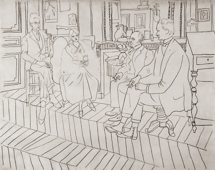 Pablo Picasso. In the lounge on La Boesa street: Jean Cocteau, Olga, Eric Satie, Clive Bell