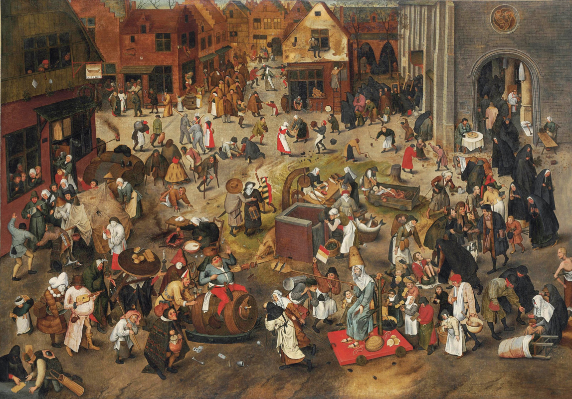 Peter Brueghel The Younger. Battle of carnival and Lent (canvas)