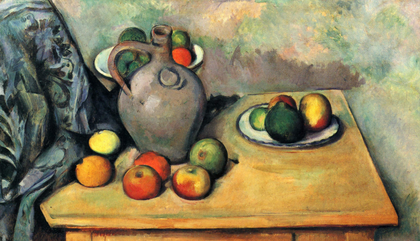 Поль Сезанн. Натюрморт с кувшином и фруктами на столе