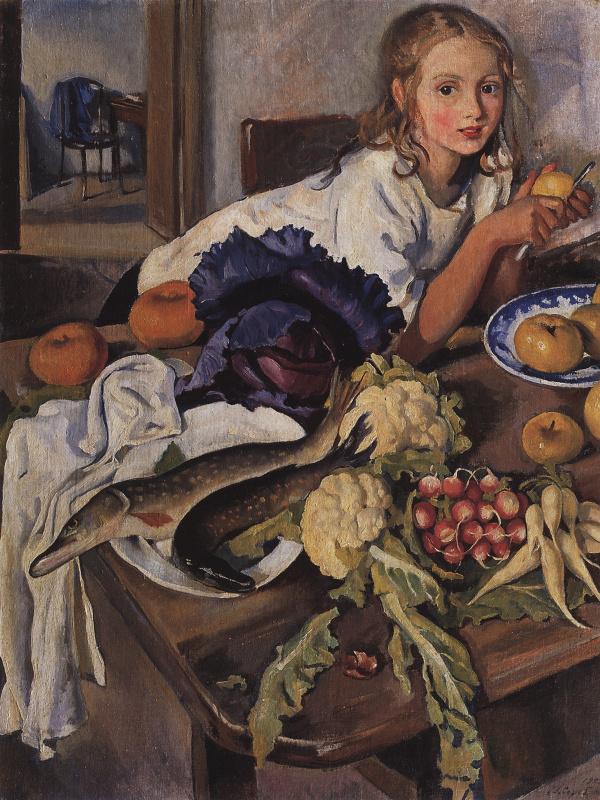 Зинаида Евгеньевна Серебрякова. Катя с натюрмортом