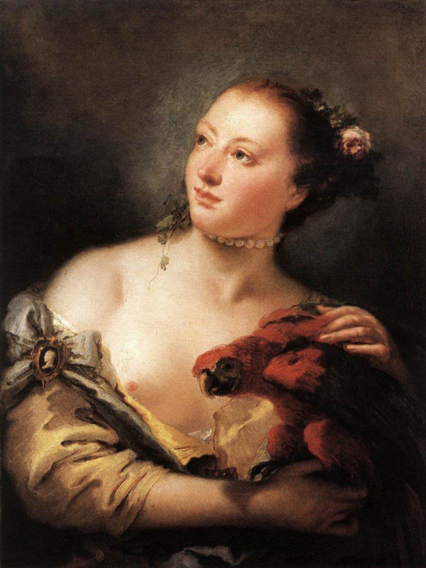 Giovanni Battista Tiepolo. Young woman with a parrot