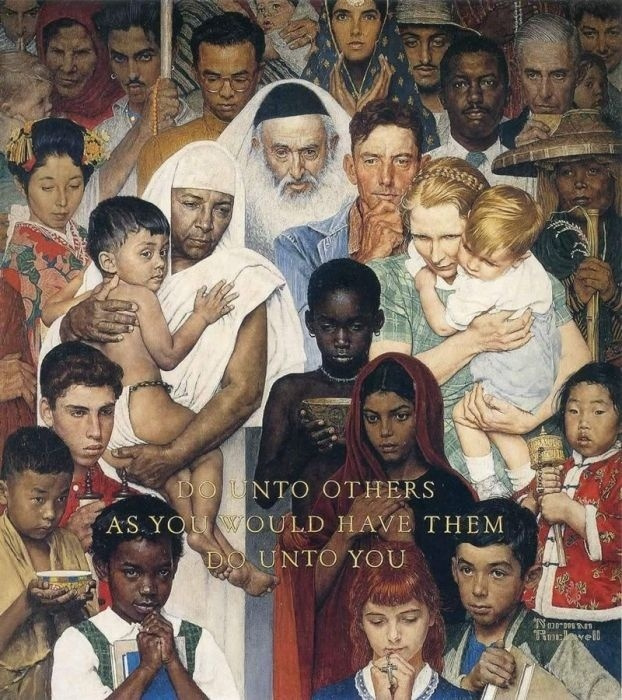 "Norman Rockwell. The Golden rule. Do unto others as you want done to you. Cover of ""The Saturday Evening Post"" (April 1, 1961)"