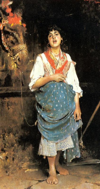 Гаэтано Эспозито. Крестьянская девушка с лошадью
