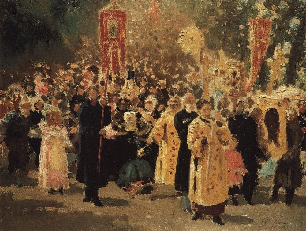 Ilya Efimovich Repin. Religious procession in the oak forest. Showing the icon.
