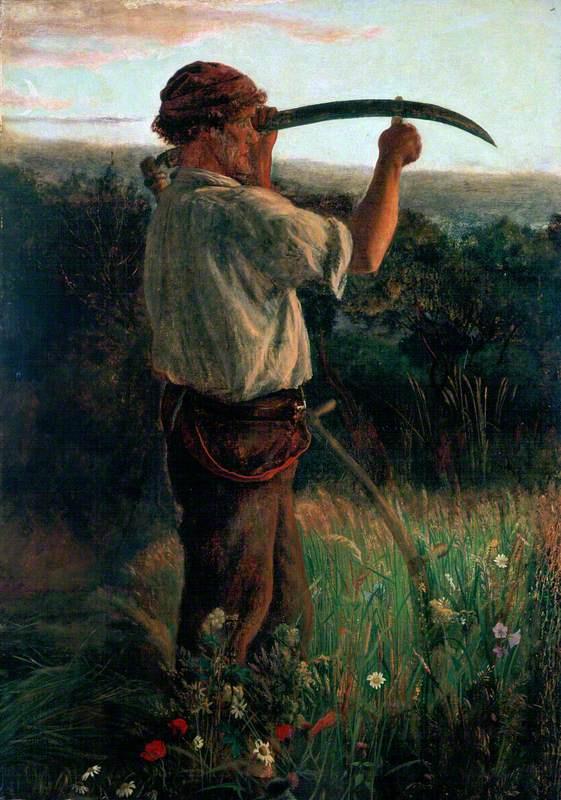 Arthur Hughes. Peasant with scythe