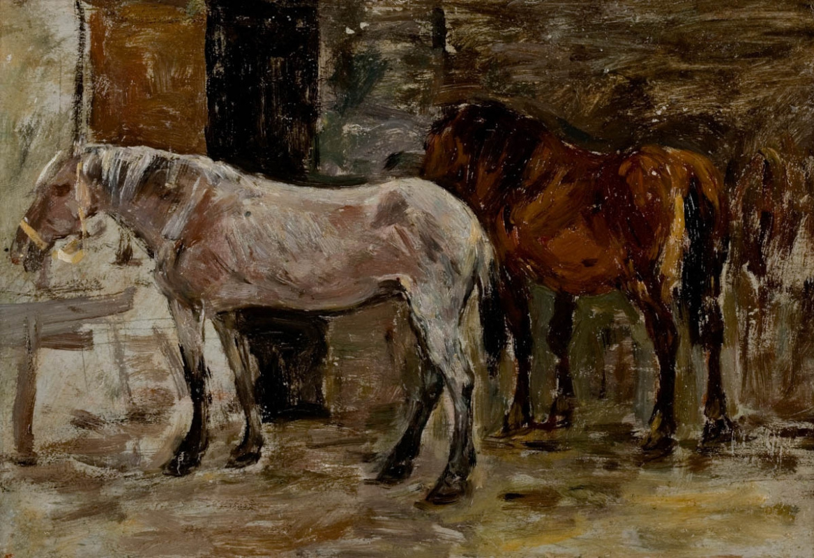 Eugene Boudin. Two horses in the stable